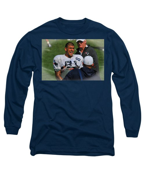 Long Sleeve T-Shirt featuring the photograph Aaron Hernandez With Patriots Coaches by Mike Martin