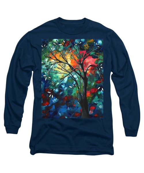 Abstract Art Original Colorful Painting Spring Blossoms By Madart Long Sleeve T-Shirt
