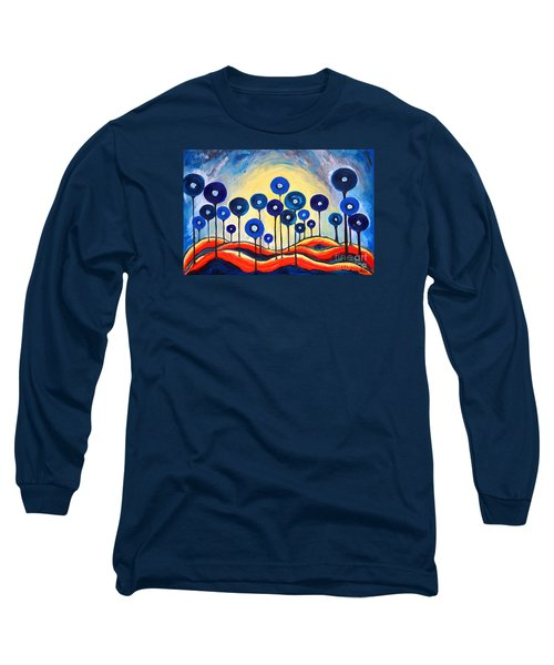 Long Sleeve T-Shirt featuring the painting Abstract Blue Symphony  by Ramona Matei