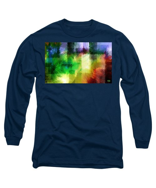 Long Sleeve T-Shirt featuring the painting Abstract In Primary by Curtiss Shaffer
