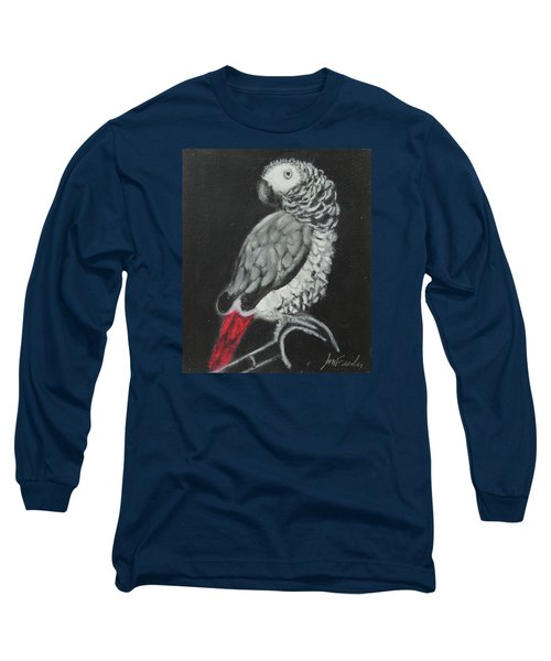 Long Sleeve T-Shirt featuring the painting African Grey by Jeanne Fischer