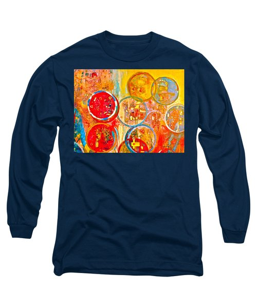 Against The Rain Abstract Orange Long Sleeve T-Shirt