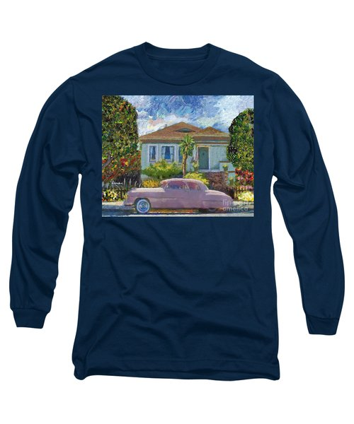 Alameda 1908 House 1950 Pink Dodge Long Sleeve T-Shirt by Linda Weinstock
