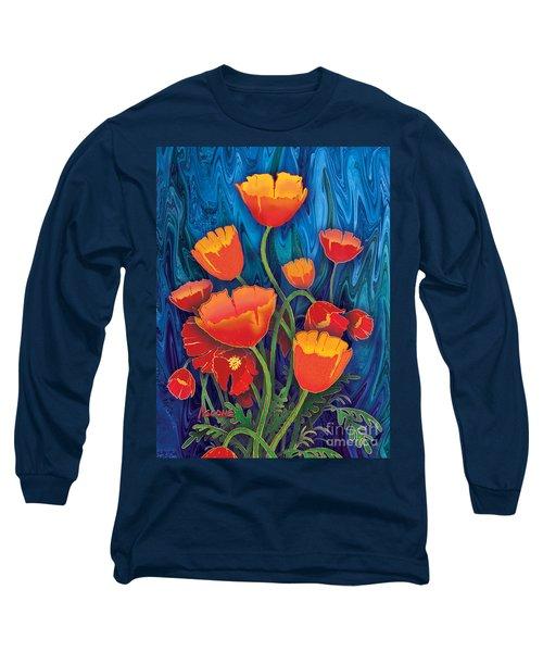Long Sleeve T-Shirt featuring the mixed media Alaska Poppies by Teresa Ascone