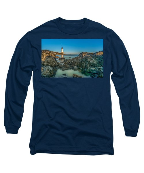 An Early Moon Over Fort Pickering Light Salem Ma Long Sleeve T-Shirt