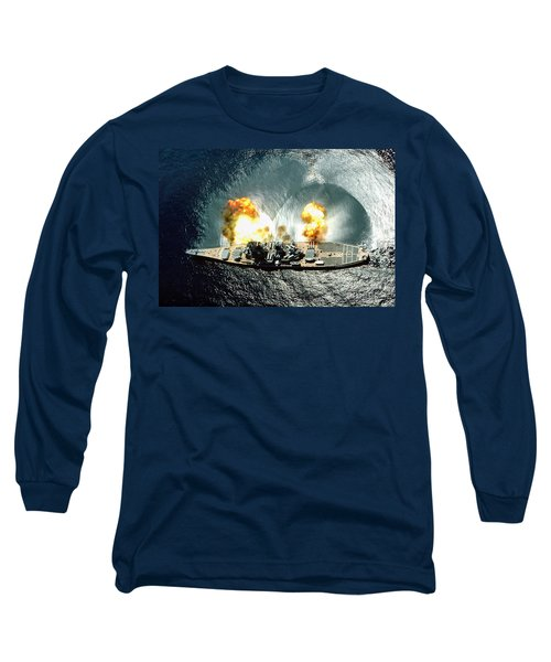 An Overhead View Of The Battleship Uss Iowa Bb61 Firing All 15 Of Its Guns Long Sleeve T-Shirt