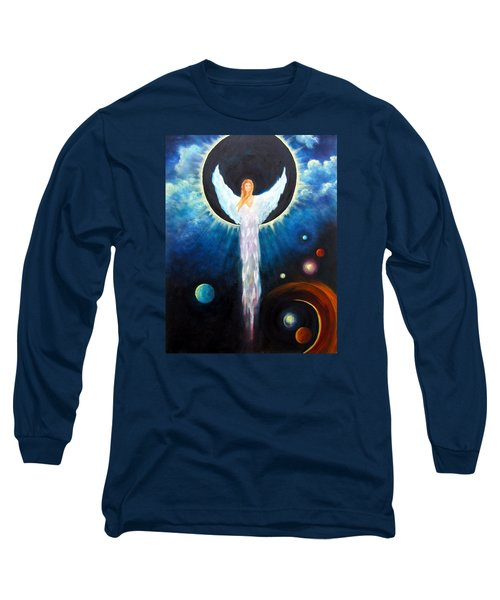 Long Sleeve T-Shirt featuring the painting Angel Of The Eclipse by Marina Petro
