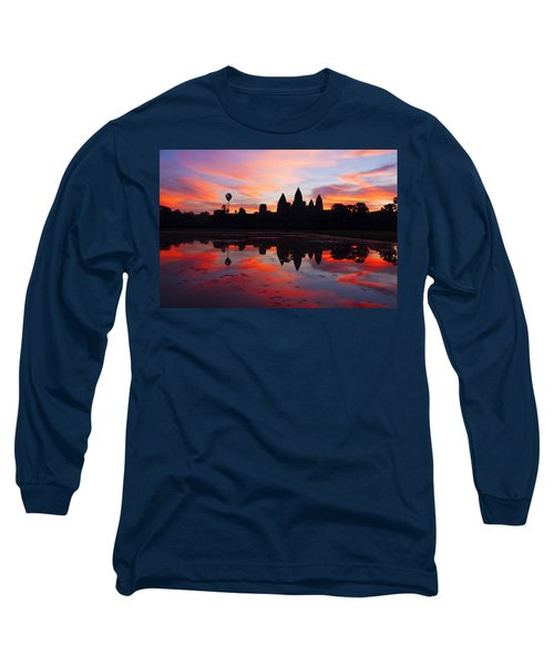 Angkor Wat Sunrise Long Sleeve T-Shirt by Alexey Stiop