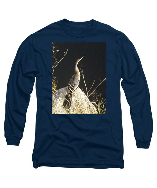 Long Sleeve T-Shirt featuring the photograph Anhinga by Robert Nickologianis