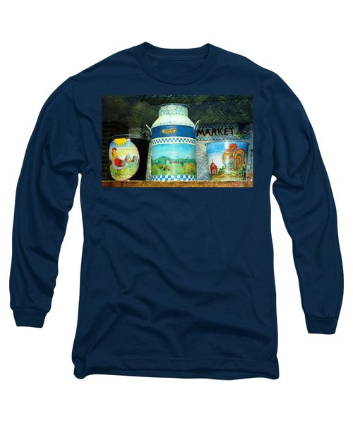 Long Sleeve T-Shirt featuring the photograph Antique Dairy Milk Can And Pails by Judy Palkimas