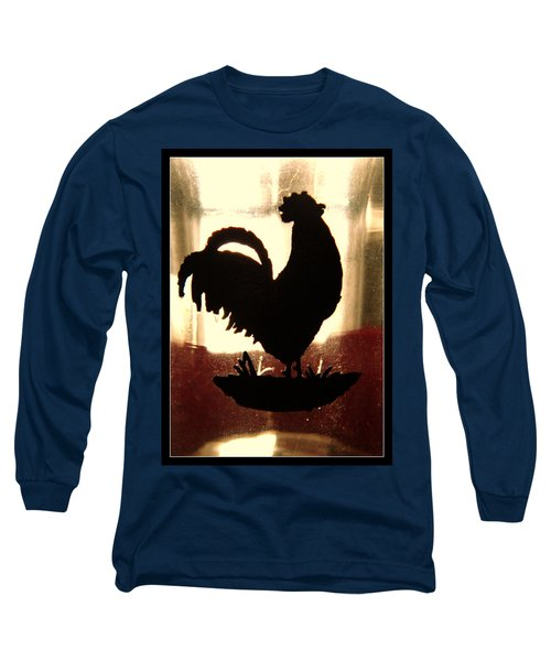 Antique Glass Chicken Silhouette Long Sleeve T-Shirt