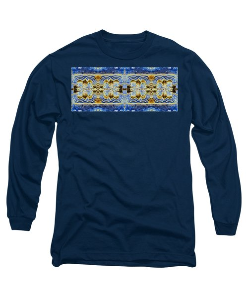 Long Sleeve T-Shirt featuring the digital art Arches In Blue And Gold by Stephanie Grant