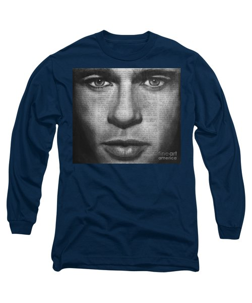 Long Sleeve T-Shirt featuring the drawing Art In The News 32- Brad Pitt by Michael Cross