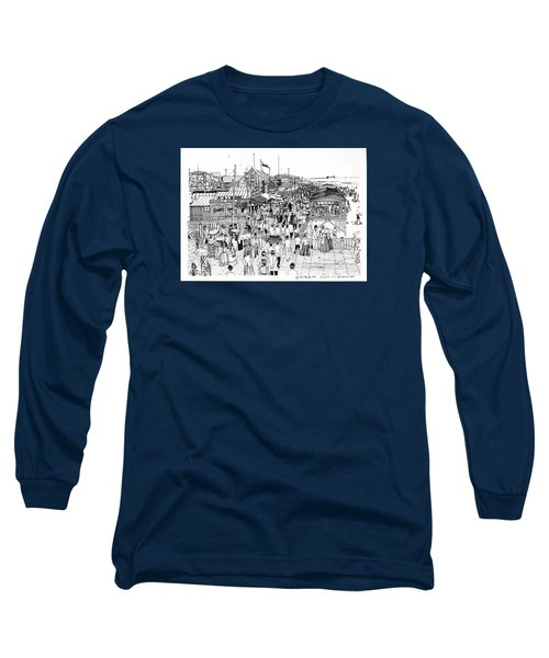 Long Sleeve T-Shirt featuring the drawing Atlantic City Boardwalk 1890 by Ira Shander