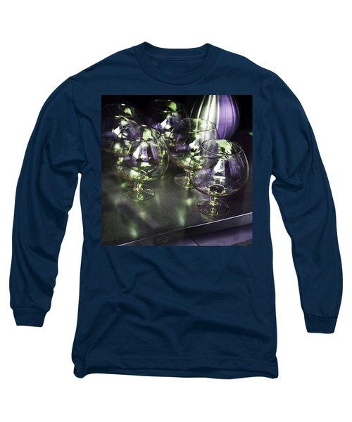 Aubergine Paris Wine Glasses Long Sleeve T-Shirt