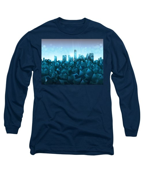 Austin Skyline Geometry 3 Long Sleeve T-Shirt by Bekim Art