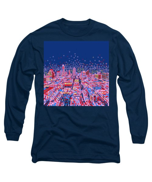 Austin Texas Abstract Panorama Long Sleeve T-Shirt by Bekim Art