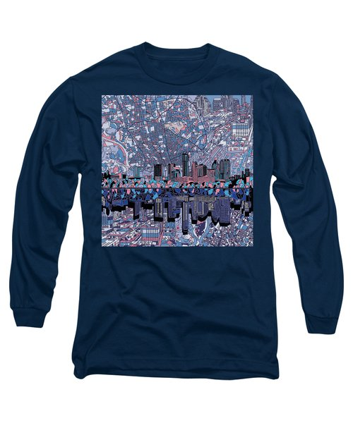Austin Texas Skyline 3 Long Sleeve T-Shirt by Bekim Art