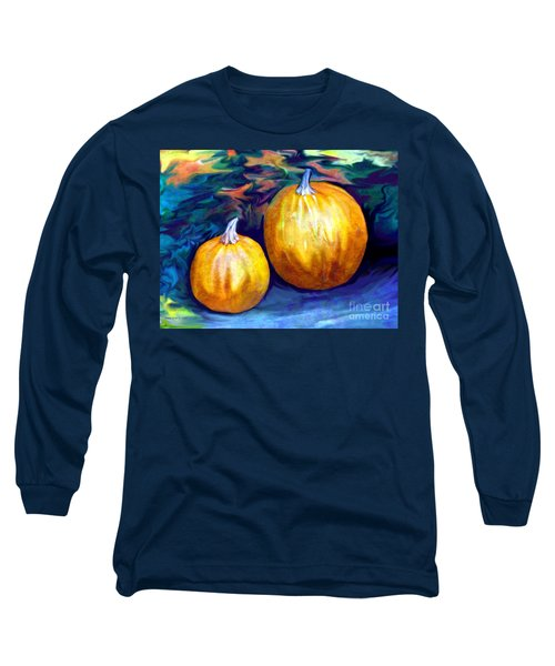 Long Sleeve T-Shirt featuring the painting Autumn Artwork With Pumpkins by Annie Zeno