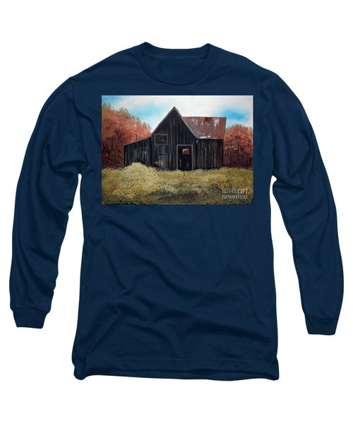 Long Sleeve T-Shirt featuring the painting Autumn - Barn -orange by Jan Dappen
