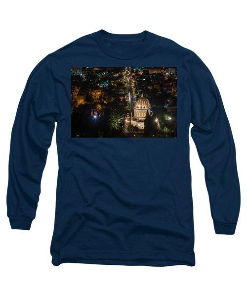 Baha'i Temple At Night Long Sleeve T-Shirt