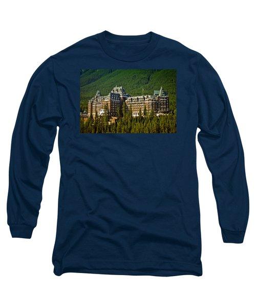 Long Sleeve T-Shirt featuring the photograph Banff Springs Hotel by Richard Farrington