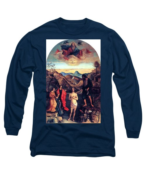 Long Sleeve T-Shirt featuring the painting Baptism Of Christ With Saint John 1502 Giovanni Bellini by Karon Melillo DeVega