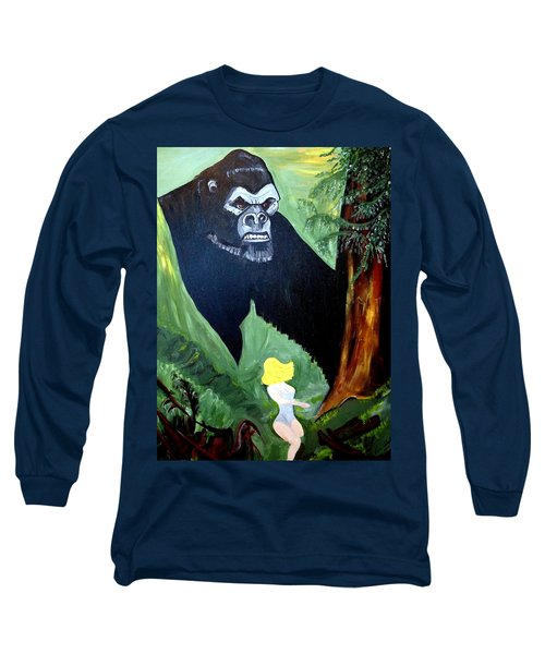 Long Sleeve T-Shirt featuring the painting Beauty And The Beast by Nora Shepley