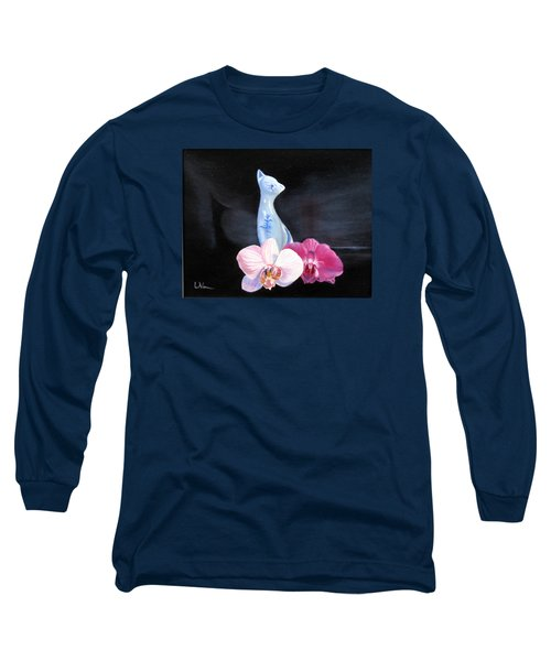Birthday Party Cat Long Sleeve T-Shirt by LaVonne Hand