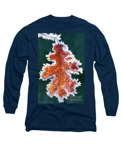 Black Oak Leaf Rime Ice Yosemite National Park California Long Sleeve T-Shirt