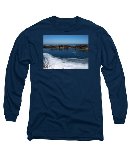 Blue And White Long Sleeve T-Shirt by Catherine Gagne