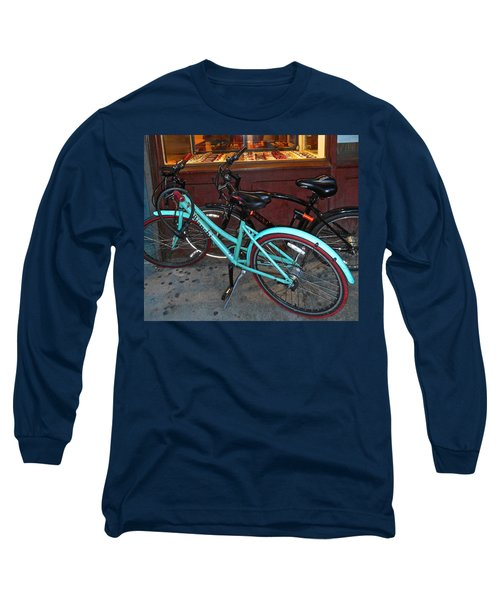 Long Sleeve T-Shirt featuring the photograph Blue Bianchi Bike by Joan Reese