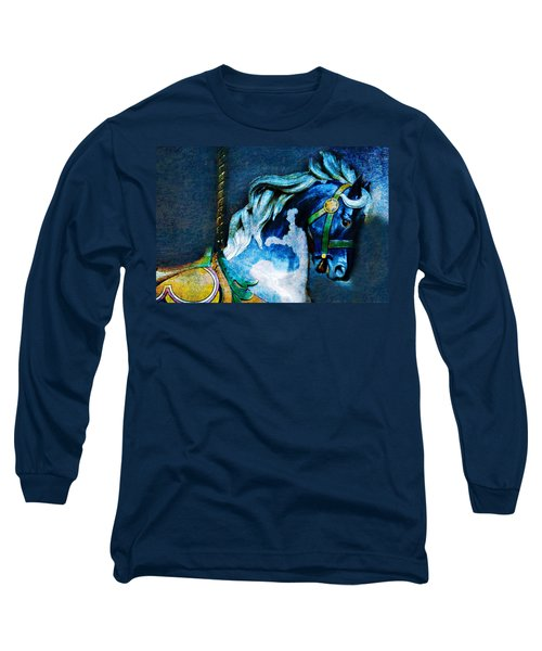 Blue Carousel Horse Long Sleeve T-Shirt
