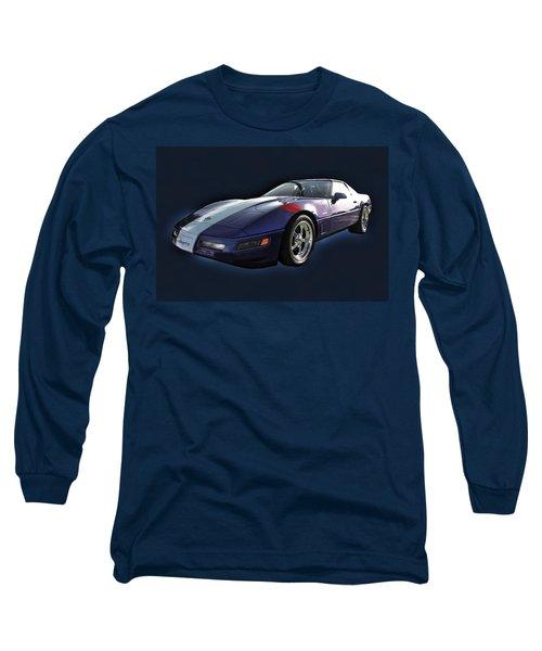 Blue Corvette Car Long Sleeve T-Shirt