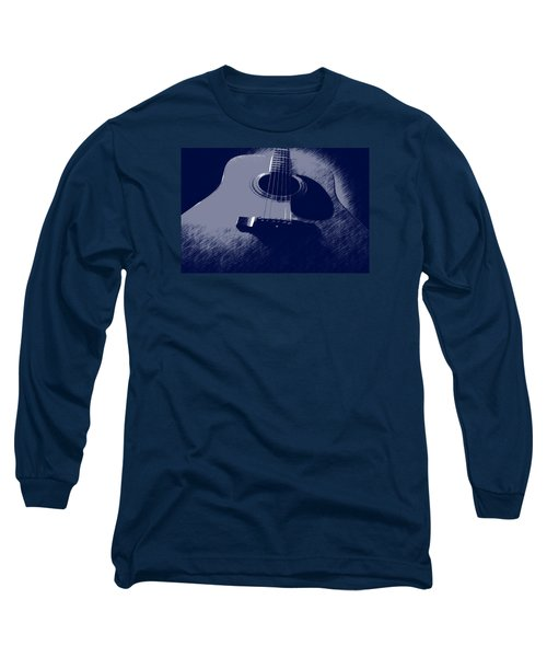Blue Guitar Long Sleeve T-Shirt by Photographic Arts And Design Studio