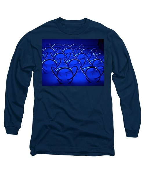 Long Sleeve T-Shirt featuring the photograph Blue Haze Circles by Joan Reese
