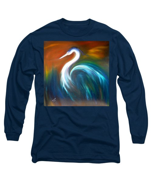 Long Sleeve T-Shirt featuring the painting Blue Heron by Dorothy Maier