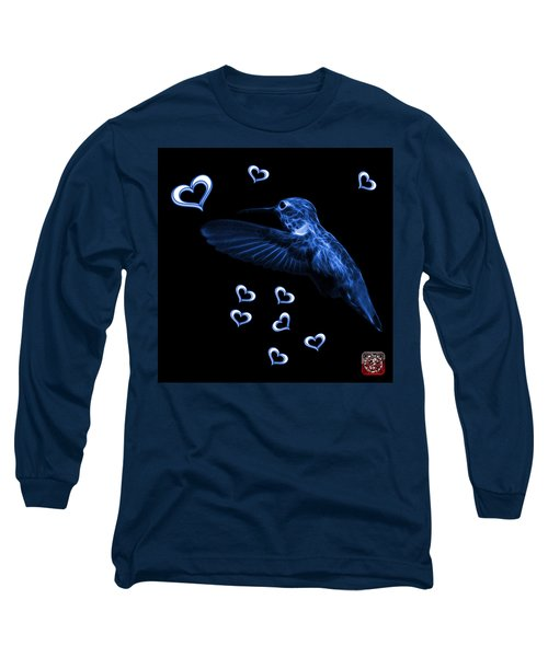 Long Sleeve T-Shirt featuring the digital art Blue Hummingbird - 2055 F M by James Ahn
