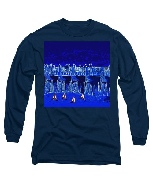 Long Sleeve T-Shirt featuring the painting Blue II Toy Sailboats In Lake Worth by David Mckinney