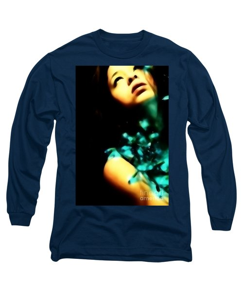 Long Sleeve T-Shirt featuring the photograph Blue Lights by Jessica Shelton