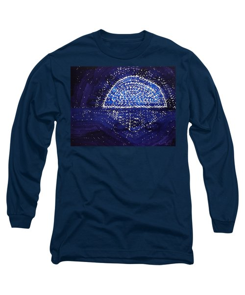 Blue Moonrise Original Painting Long Sleeve T-Shirt