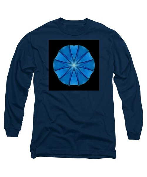 Blue Morning Glory Flower Mandala Long Sleeve T-Shirt