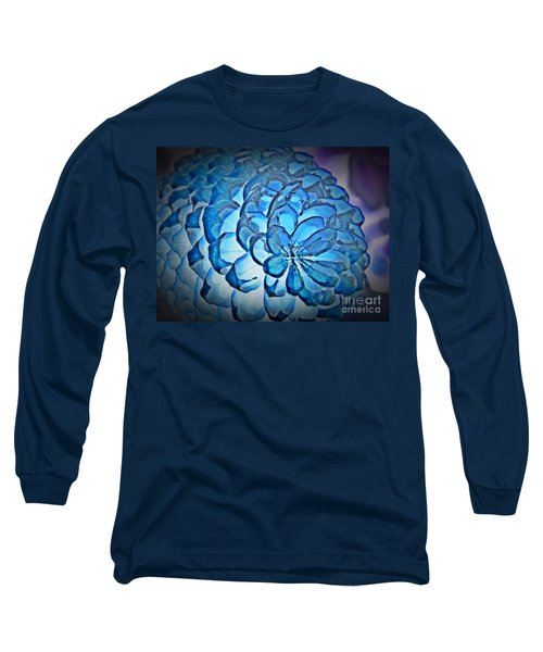 Blue Pine Cone 2 Long Sleeve T-Shirt by Chalet Roome-Rigdon