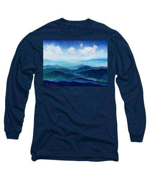 Blue Ridge Blue Skyline Sheep Cloud Long Sleeve T-Shirt by Catherine Twomey