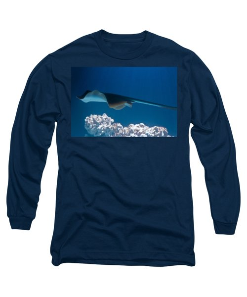 Long Sleeve T-Shirt featuring the photograph Blue Spotted Fantail Ray by Eti Reid