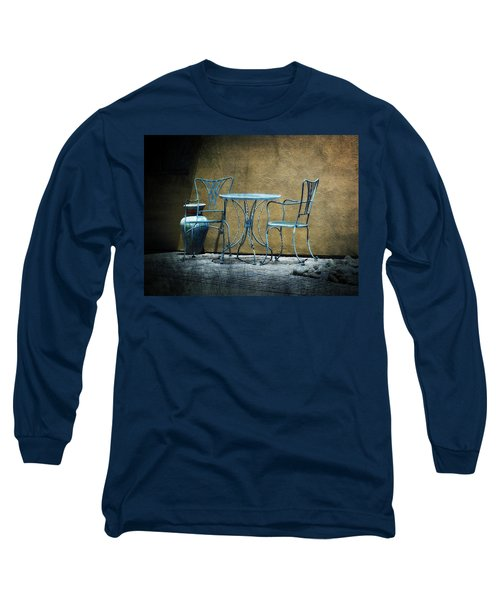 Long Sleeve T-Shirt featuring the photograph Blue Table And Chairs by Lucinda Walter