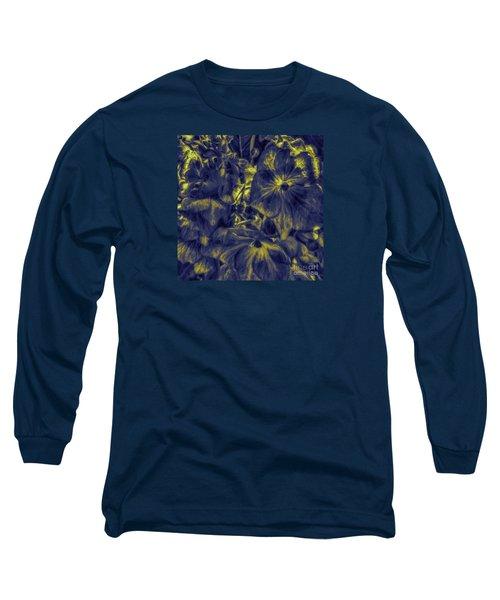Blue Tango Floral Long Sleeve T-Shirt by Jean OKeeffe Macro Abundance Art