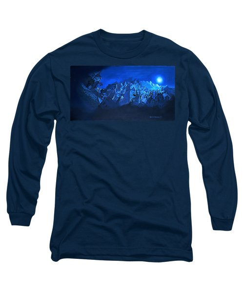 Long Sleeve T-Shirt featuring the painting Blue Village by Joseph Hawkins