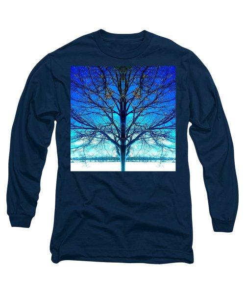 Blue Winter Tree Long Sleeve T-Shirt