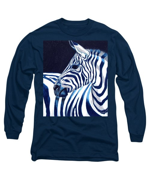 Long Sleeve T-Shirt featuring the painting Blue Zebra by Alison Caltrider